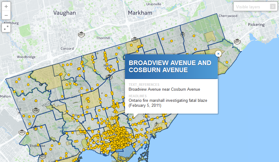 News maps allow users to explore coverage of Toronto