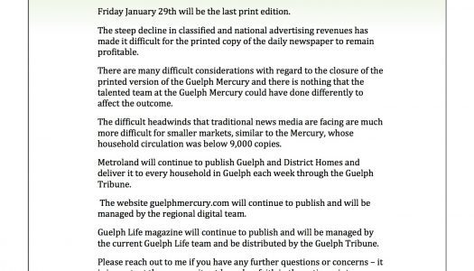 Memo: Metroland Media no longer publishing print edition of Guelph Mercury