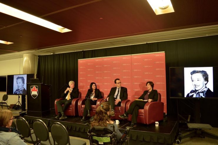 Christopher Waddell, Jennifer Ditchburn, Josh Wingrove and Janice Tibbetts speak on a panel about the colourful history of the Parliamentary press gallery at Carleton History. Photo courtesy Chelsea Nash.