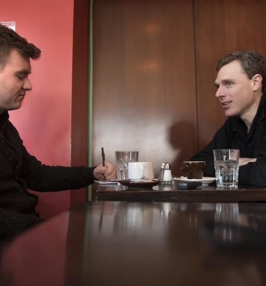 Josh O'Kane interviews Joel Plaskett for his new book Nowhere With You: The East Coast Anthems of Joel Plaskett, The Emergency and Thrush Hermit. Photo courtesy Fred Lum.