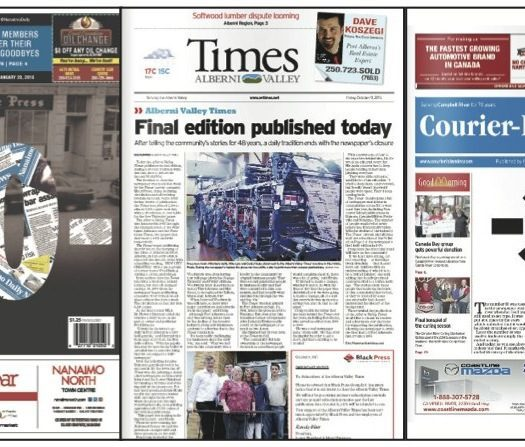 Three of the newspapers Black Press has closed: The Nainamo Daily News, The Alberni Valley Times and the Campbell River Courier-Islander. Image by J-Source.