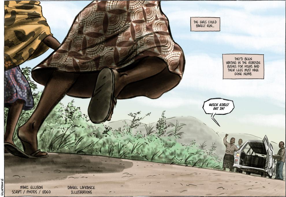 "A panel from Marc Ellison's graphic novel ""Safe House,"" drawn by Daniel Lafrance. Image courtesy Marc Ellison."