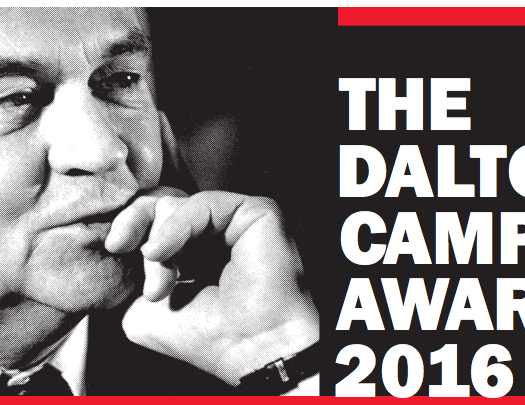 Friends of Canadian Broadcasting announced The Dalton Camp Award in 2002 to honour the memory of the late Dalton Camp, a distinguished commentator on Canadian public affairs. Image courtesy Friends of Canadian Broadcasting.