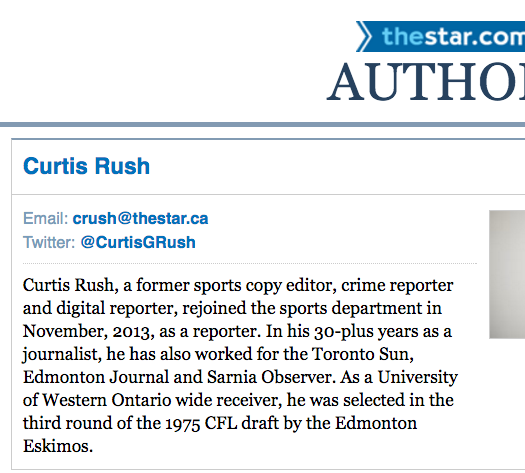 Curtis Rush's author page on the Toronto Star website. He is retiring in April. Screenshot by J-Source.
