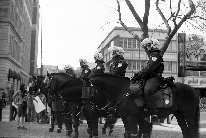The Montreal Police cavalry unit during a protest in 2012. Photo courtesy Gerry Lauzon/CC 2.0 Generic.