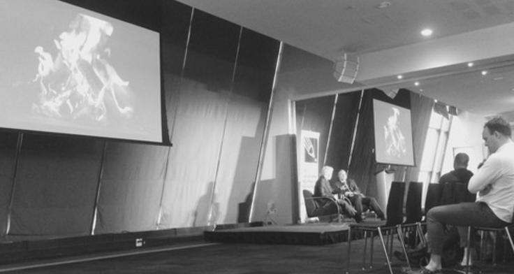 Globe and Mail Editor-in-Chief David Walmsley interviews Google's Richard Gingras during a CJF J-Talk on May 5. Photo courtesy Belinda Alzner.