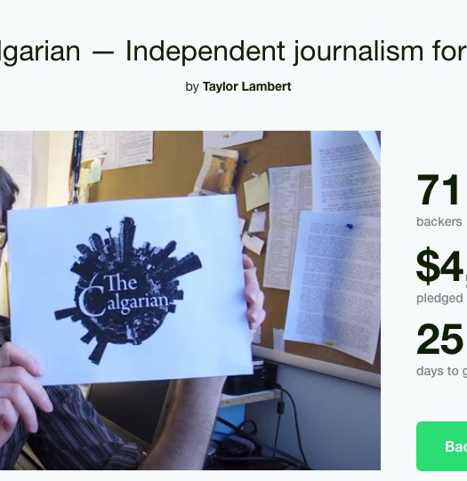 The Kickstarter page for The Calgarian. Screenshot by J-Source.