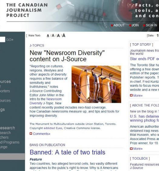 J-Source as it appeared on Oct. 12, 2007. Much has changed about the organization since then. Screenshot by J-Source.
