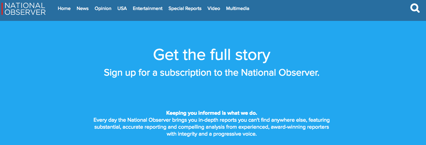 The subscription page for the National Observer. Screenshot by J-Source.