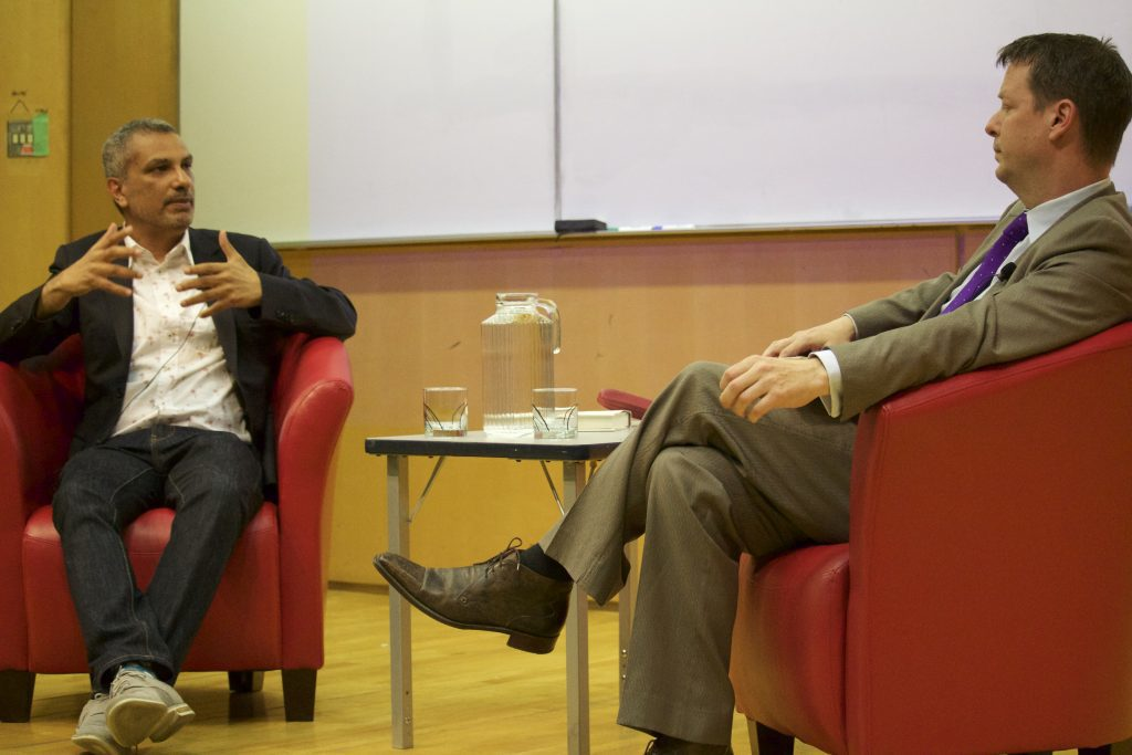 Author and Ryerson School of Journalism professor Kamal Al-Solaylee discusses his latest book with The Globe and Mail's Doug Saunders. Photo courtesy Allison Ridgway.
