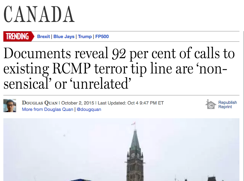 National Post reporter Douglas Quan's story was published just before the federal election and three days after the then federal government proposed the creation of a 'Barbaric Cultural Practices' tip line. Screenshot by J-Source.