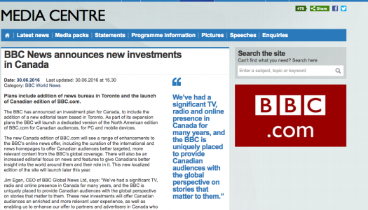 Coming to a Canada near you: BBC, NYTimes & more…