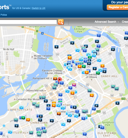 A crime map from the Ottawa Police Service. Screenshot by J-Source.