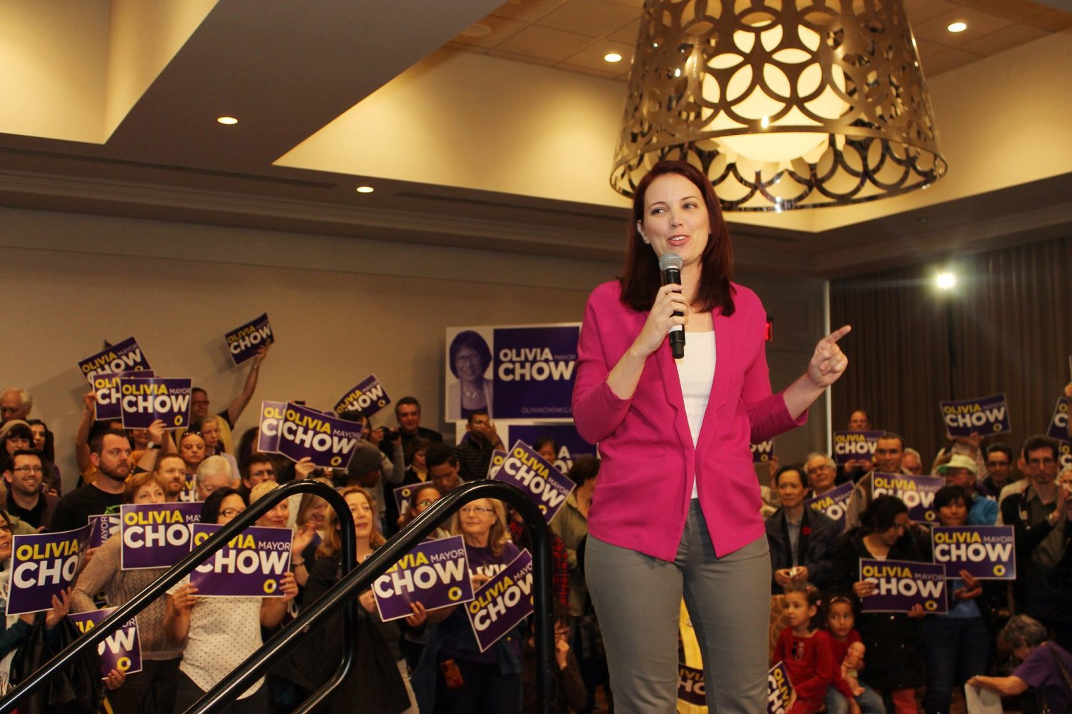 Jennifer Hollett, Olivia Chow's digital director during her 2014 mayoral campaign, speaks at a rally. Hollett is the new head of news and government at Twitter Canada. Photo courtesy Olivia Chow campaign/CC BY 2.0.