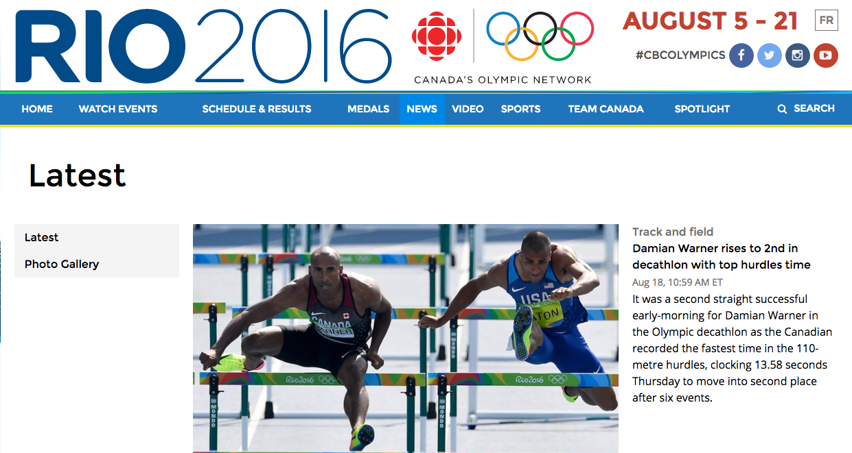 The CBC's Olympic website, featuring reporting by the CBC News team. Screenshot by J-Source.