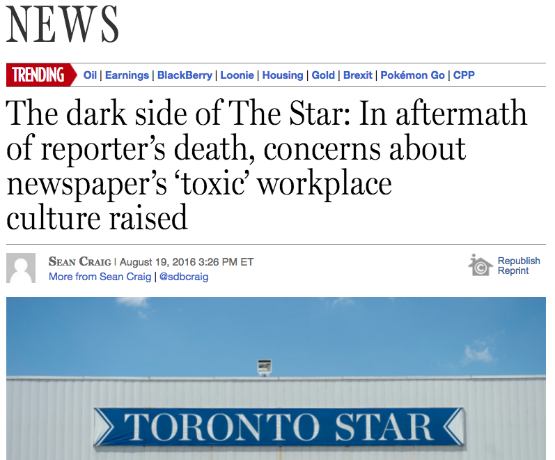 Sean Craig's Aug. 19 story about the newsroom culture at the Toronto Star. Screenshot by J-Source.