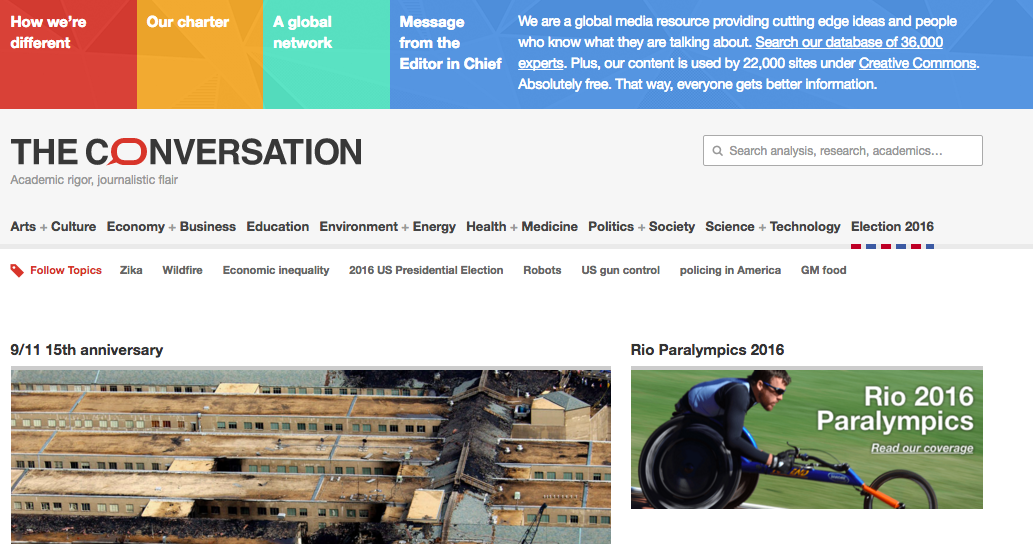 The Conversation, a journalism site about academic work, will open a Canadian outpost based at UBC with funds from a government grant. Screenshot by J-Source.