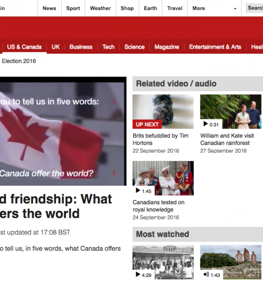 Some of BBC's new Canadian content on their news website. Screenshot by J-Source.