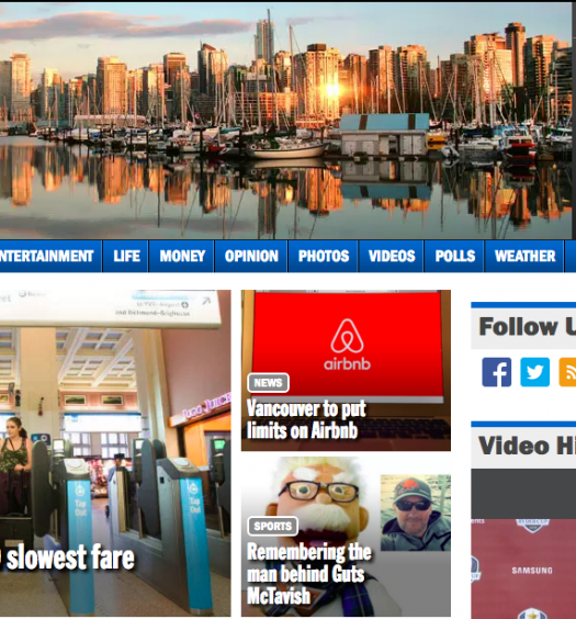 24 Hours Vancouver's website. The office for the free five-day a week paper was closed effective Sept. 29. Screenshot by J-Source.
