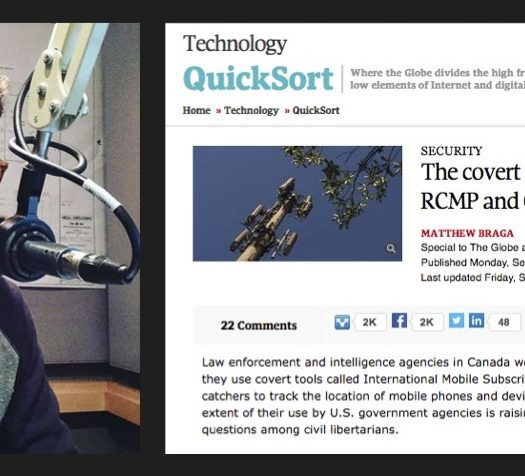 Matthew Braga is a freelance tech reporter and lecturer at Ryerson. He broke news about how Canadian police services use cellphone surveillance in investigations. Photo courtesy Matthew Braga/Screenshot by J-Source.