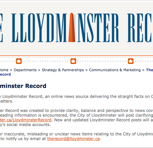 """The Lloydminster Record, an """"online news source"""" created by the City of Lloydminster. Screenshot by J-Source."""