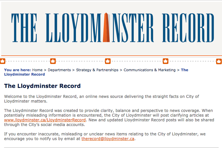 "The Lloydminster Record, an ""online news source"" created by the City of Lloydminster. Screenshot by J-Source."