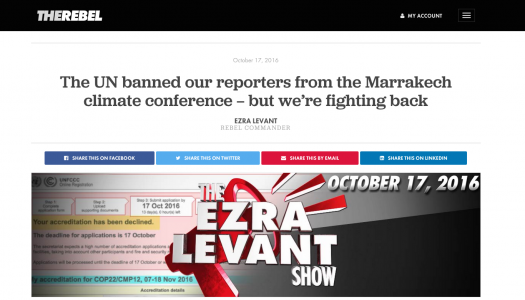 Journalism groups question The Rebel's exclusion from climate change conference