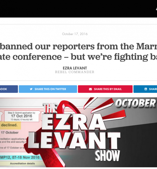 The Rebel, a news and opinion outlet headed by right-wing commentator Ezra Levant, was denied on basis that it is 'advocacy media'. Screenshot by J-Source.