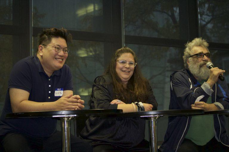 Luis, Suzanne Feldman and Rod Radford discuss creating short documentary films on mental illness. Image courtesy of Allison Ridgway.