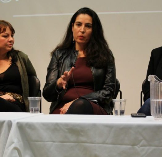 Reporters Karyn Pugliese, Tanya Talaga and Connie Walker speak on covering Indigenous community at the Ryerson School of Journalism. Photo courtesy Jasmine Bala.