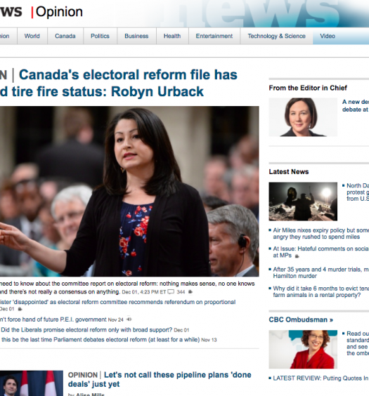 The CBC's new opinion landing page. Screenshot by J-Source.