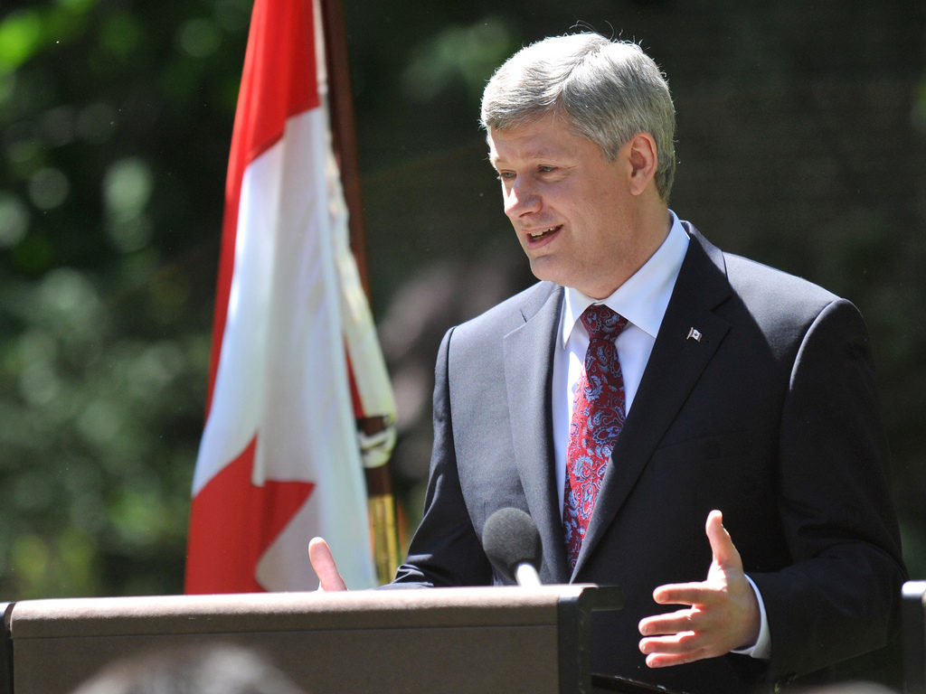 Canadian Prime Minister Stephen Harper during a joint press conference with Prime Minister David Cameron in the Downing Street garden. Photo courtesy Number 10/CC BY-NC-ND 2.0.