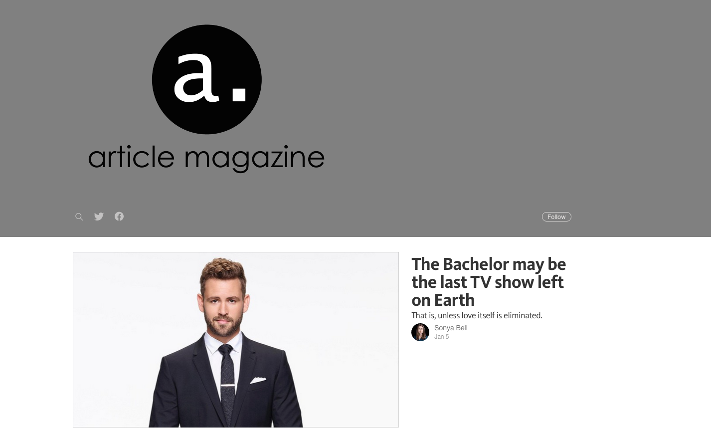 Article magazine, a Patreon-funded site that publishes once a week on Medium. Screenshot by J-Source.
