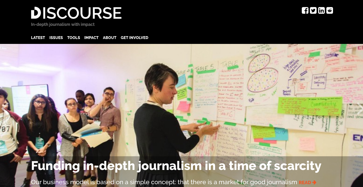 Discourse Media sets precedent for a new kind of emerging media organization. Screenshot by J-Source.