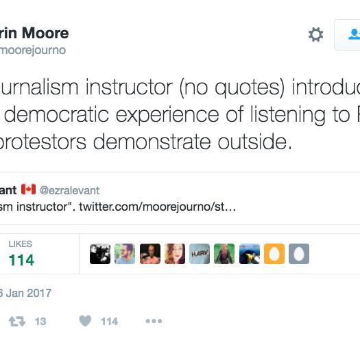 The tweet Erin Moore sent Ezra Levant. Screenshot by J-Source.