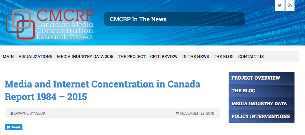The latest media concentration report from the Canadian Media Concentration Research Project. Screenshot by J-Source.
