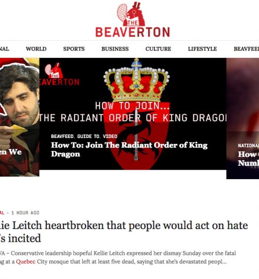 The Beaverton, a Canadian satirical news site. Screenshot by J-Source.