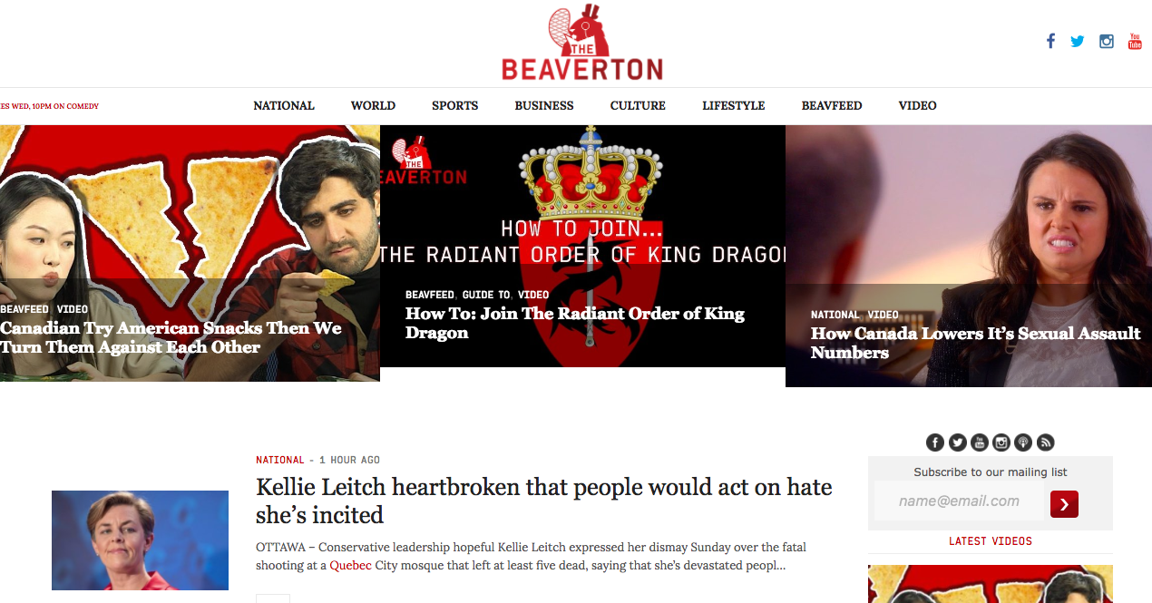 The Beaverton, a Canadian satirical news site. Screenshot by J-Source.