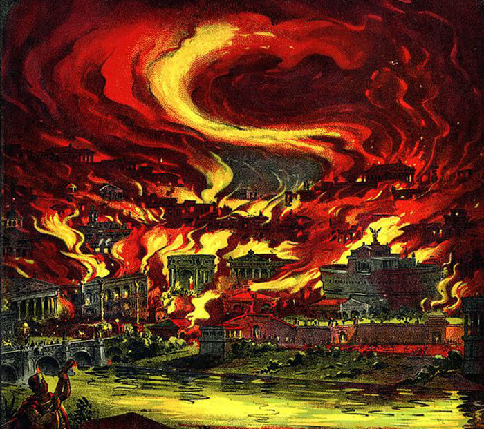 The burning of Rome: Detail from the cover of E.T. Paull's The Burning of Rome sheet music. Wikicommons