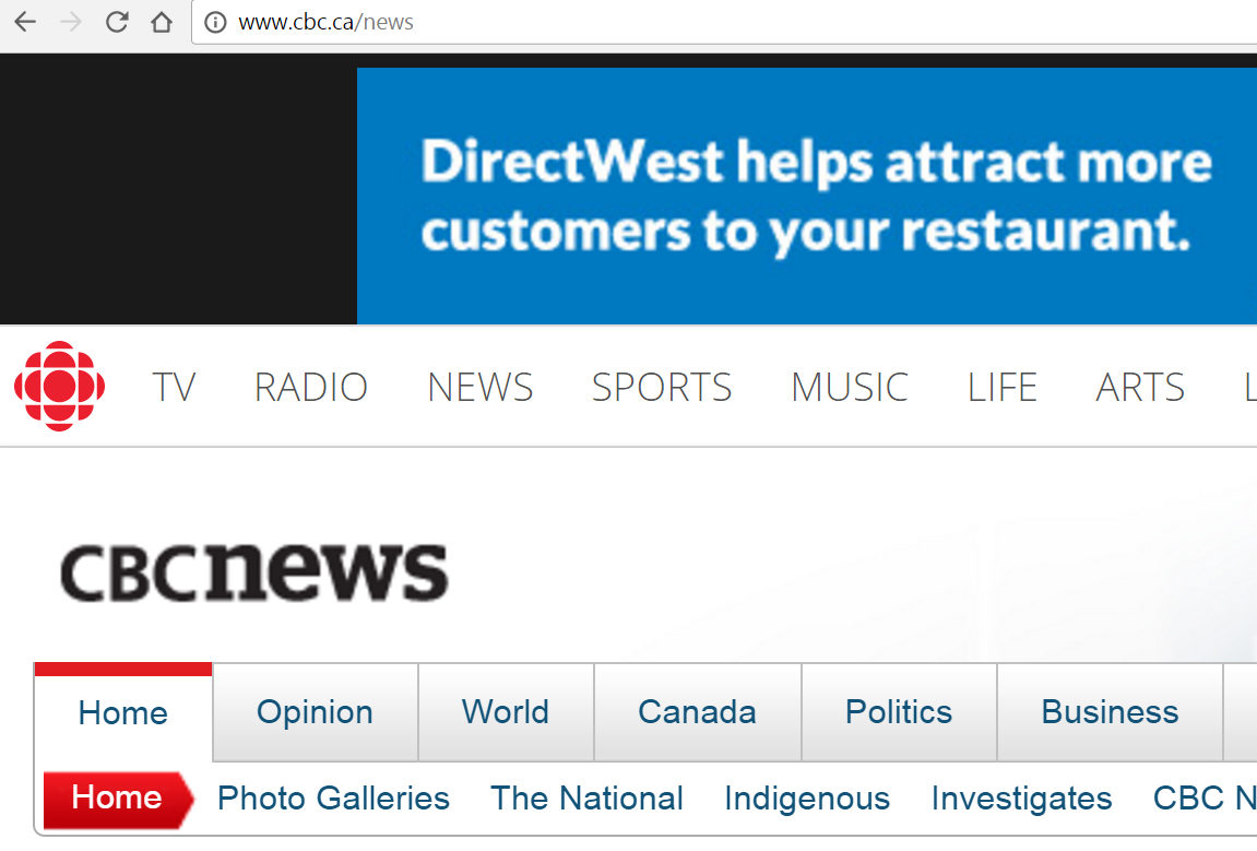 Time to change this picture? An ad tops off CBC News' website. Screenshot by J-Source.