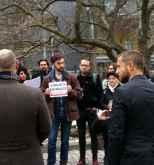 "Canadian Journalists for Free Expression hosted a rally outside Osgoode Hall during the appeal. ""We're not facing a brave new world, but a frightening new world,"" CJFE executive director Tom Henheffer (left) told a small crowd. Right: Ben Makuch."