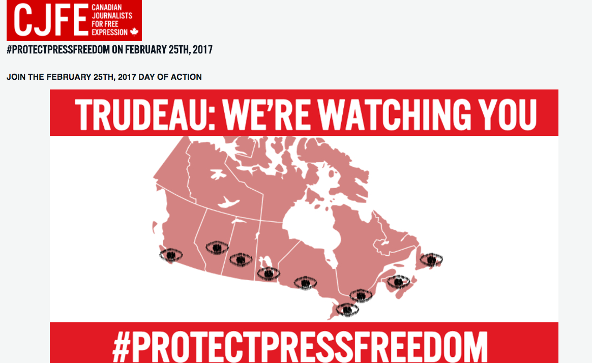 On Feb. 25, protests organized by a coalition of journalism and free speech groups will take place across Canada. Screenshot by J-Source.