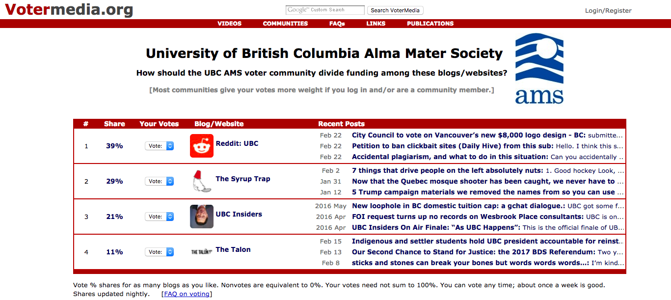 Mark Latham has pioneered a voter-funded media project at UBC since 2007. Screenshot by J-Source.