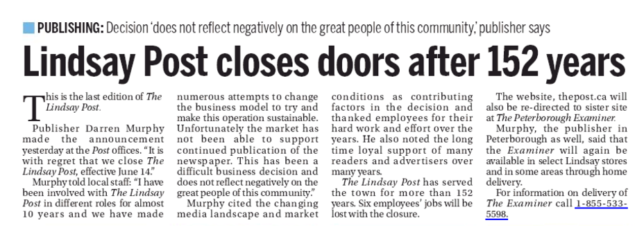 The last edition of the Lindsay Post. Screenshot courtesy of Policy Options.