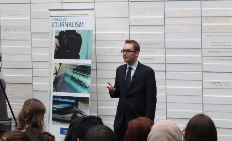 Daniel Dale, Washington Bureau Chief for the Toronto Star, discusses verification and trust in the media at the George Vari Engineering and Computing Building's Sears Atrium at Ryerson University, February 15th, 2017. Photo courtesy of Micheal Ott.