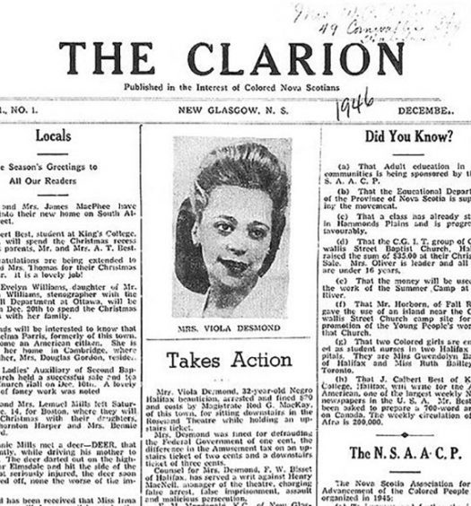 Carrie Mae Best's newspaper, the Clarion, covered Viola Desmond's arrest on the front page of its first edition in 1946. Image courtesy of the Nova Scotia Archives.