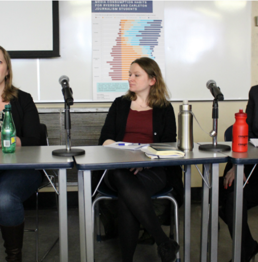 Ryerson professors Shauna Rempel, Jessica Thom and Anne McNeilly discussing what young people want from their news media at a panel that took place on Jan. 27, 2017. Photo courtesy of Jasmine Bala.