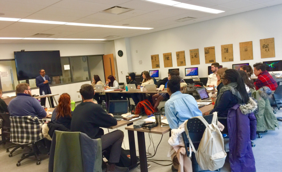George Abraham speaks to a class at Carleton on the topic of diversity in journalism. Photo courtesy of George Abraham.