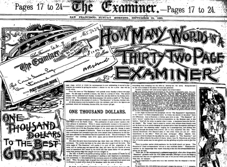 A guessing contest in The San Francisco Examiner on Sept. 29, 1895. Image courtesy of Paul Moore.