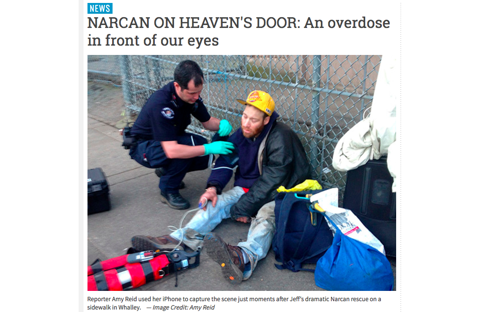 Amy Reid, a reporter for Surrey Now, documented a drug overdose that happened right in front of her. Screenshot by J-Source.